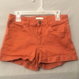 Burnt Orange Mid Rise Shorts